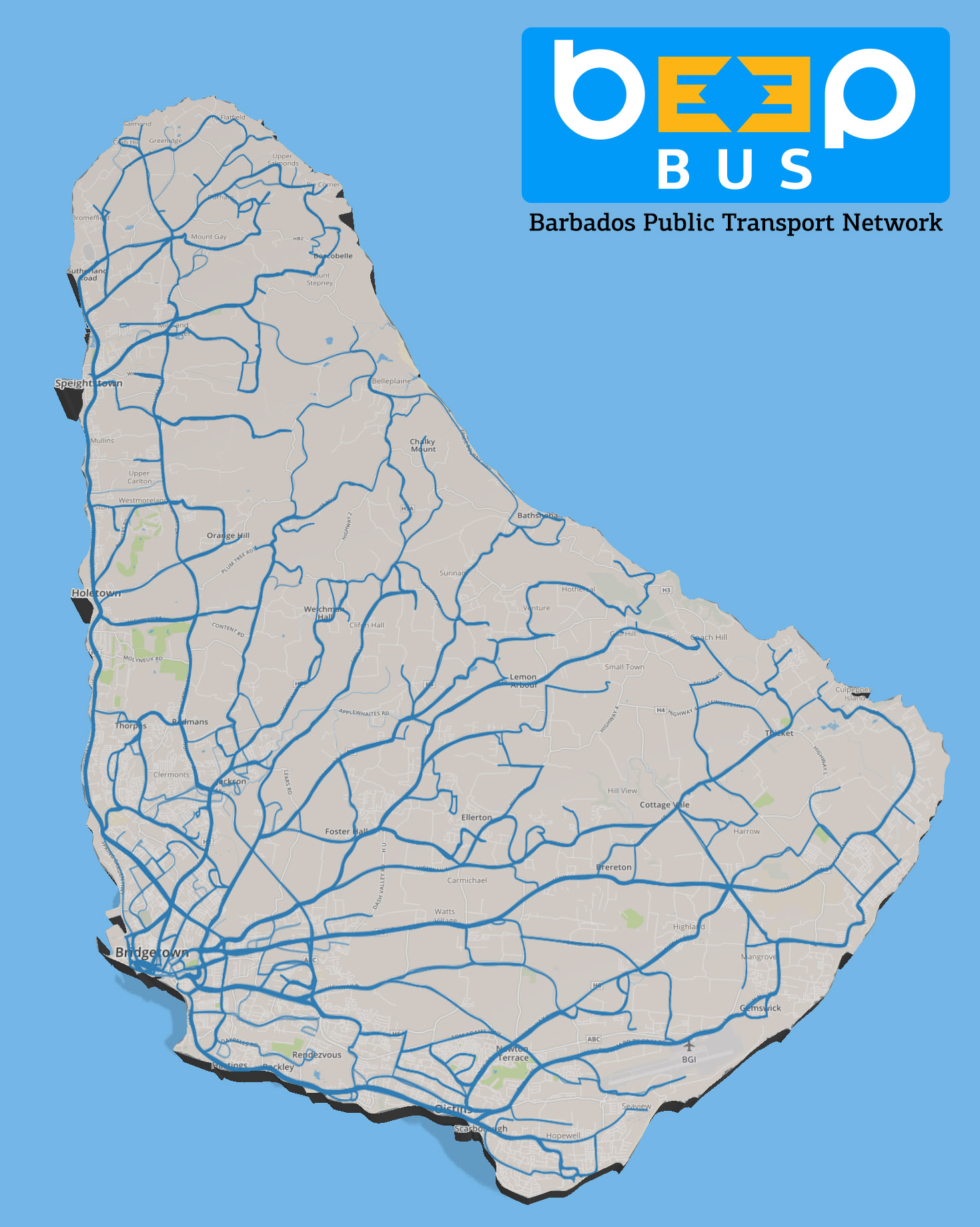 BeepBus All Barbados Bus Routes on a Map